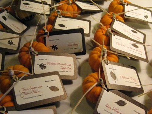 mini-pumpkin wedding escort card