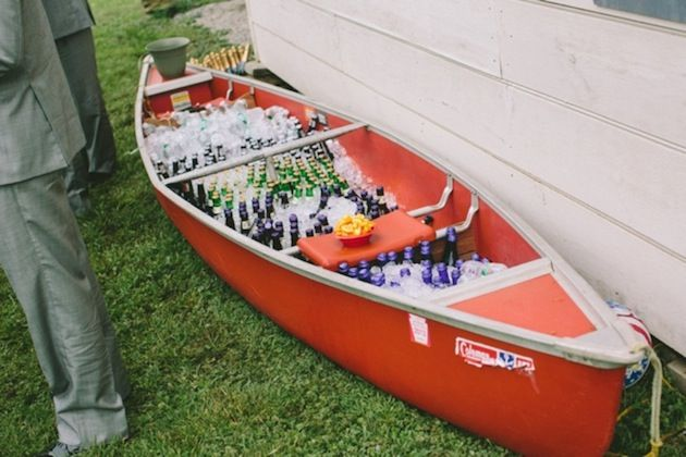 canoe as beer cooler