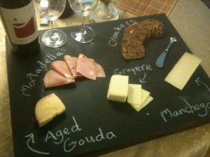 DIY chalkboard cheese tray