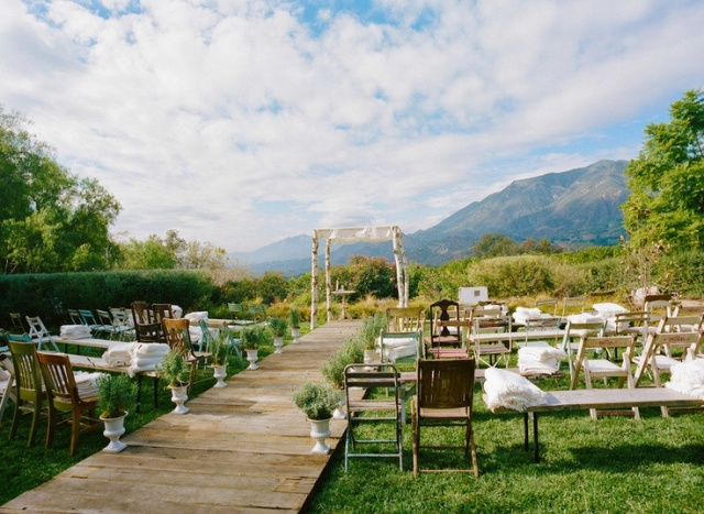 mismatched wedding ceremony seating