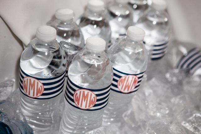 wedding monogram water bottles