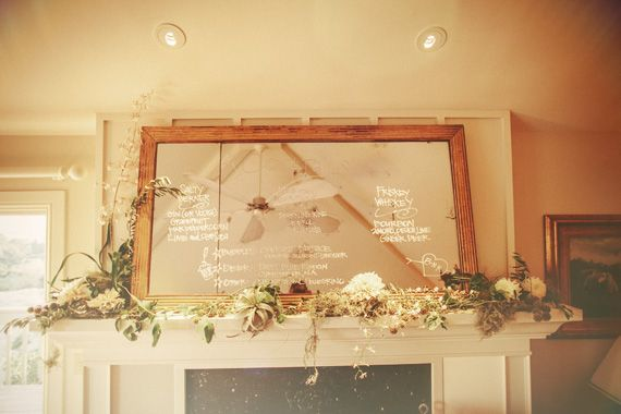 bar menu on mirror