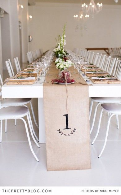 burlap table number table runner
