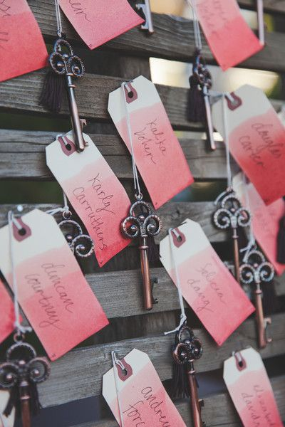 ombre key bottle opener escort cards
