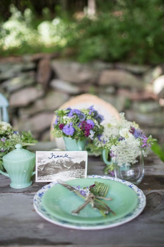 old photos as wedding and event placecards