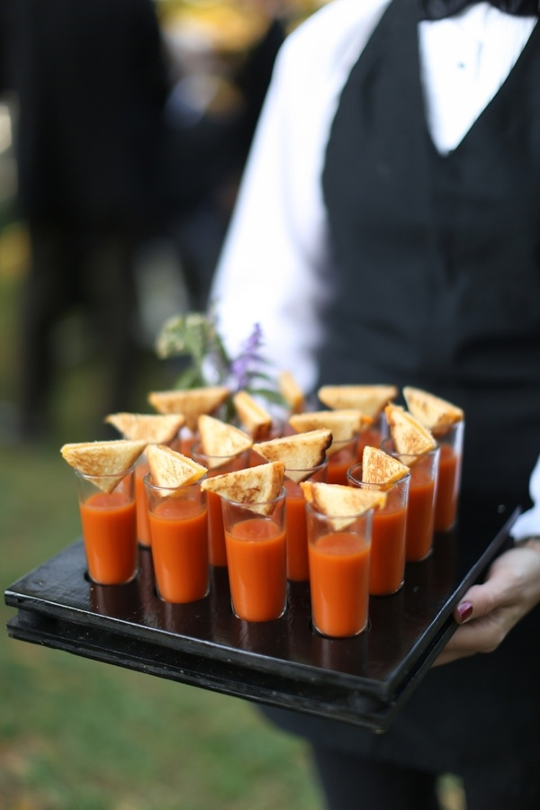 catering soup ideas - tomato soup shooter with mini grilled cheese