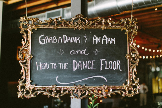 wedding grab a drink and dance sign
