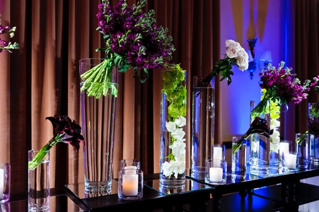 angled floral arrangement at the Grammys Foundation Concert